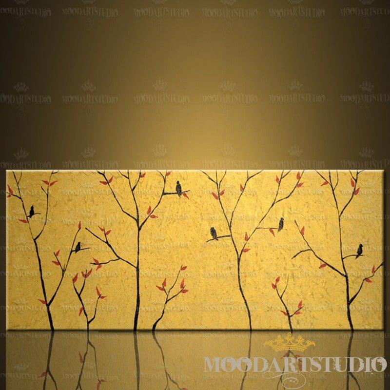 Golden Birds - Testiera da letto dipinta a mano