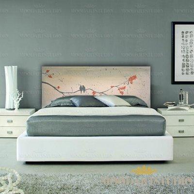 Uccelli provenzali - Testiera da letto dipinta a mano