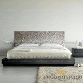 Fiori Astratti Argento - Testiera da letto moderna dipinta a mano