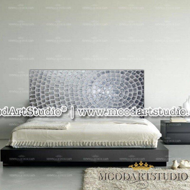 Testiera da letto argento con pittura in rilievo in stile - Testiere letto moderne ...