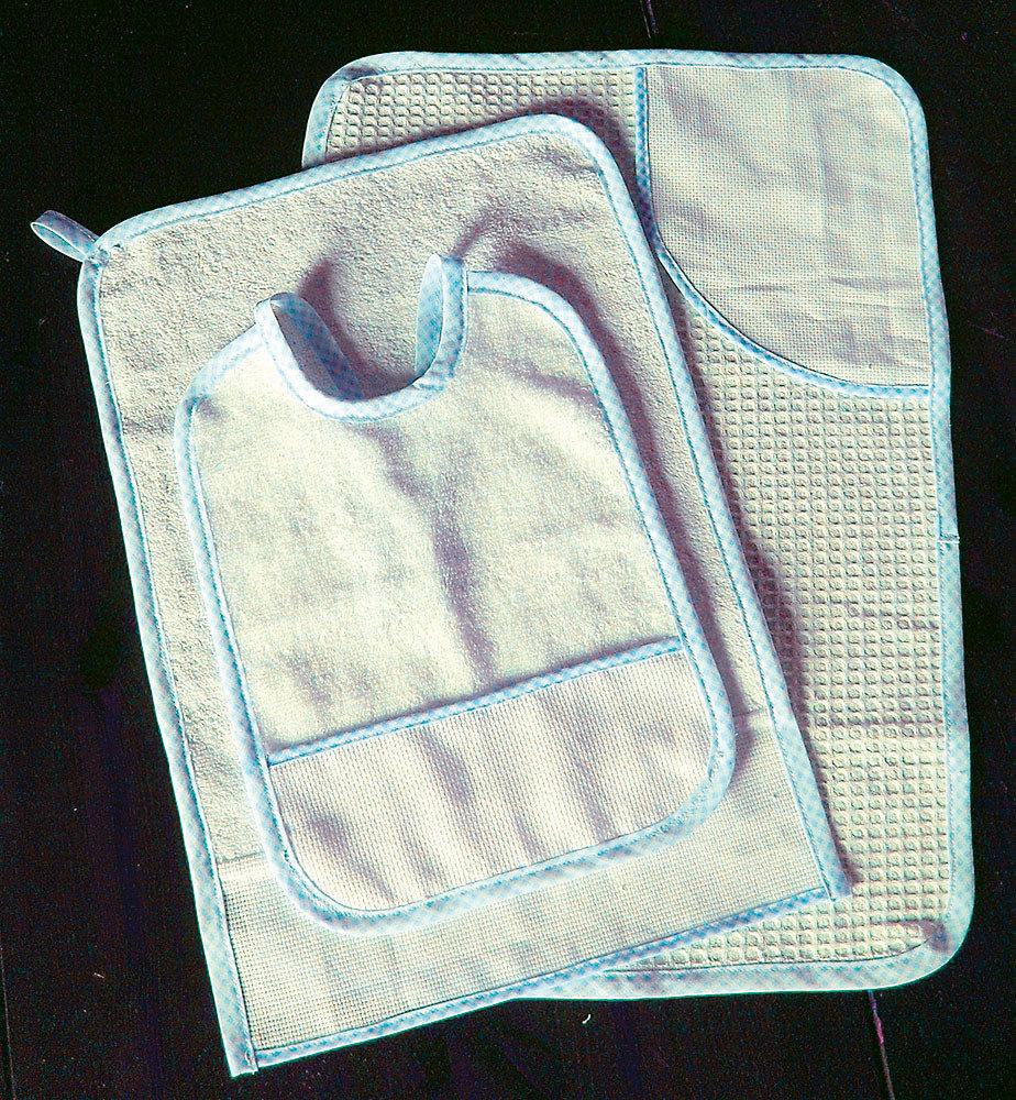 Set asilo 3 pezzi da ricamare punto croce tela aida tovaglietta bavaglino asciugamani
