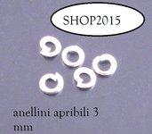50 anellini , anelli apribili 3 mm  argentato