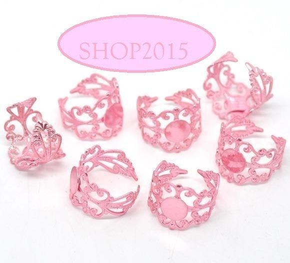 base anello in filigrana rosa  con piastra piatta