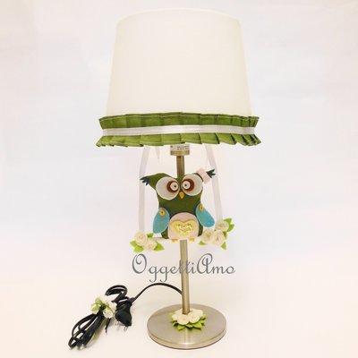 Lampada da tavolo per la cameretta con paralume decorato con gufi e su misshobby - Lampada per cameretta ...