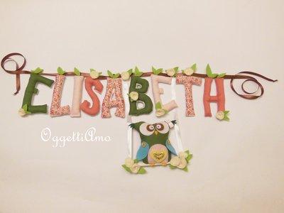 ELISABETH: ghirlanda di lettere di stoffa imbottite per personalizzare e decorare la cameretta della vostra bambina!