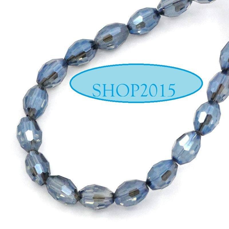 10  pz  Perle  ovali in Vetro mezzo cristallo Sfaccettate azzurro 6×4mm