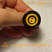 Anello bottone nero/giallo