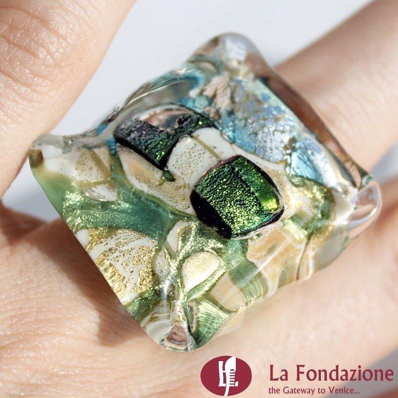 Anello a cubo dicroico in vetro di Murano - Smeraldo