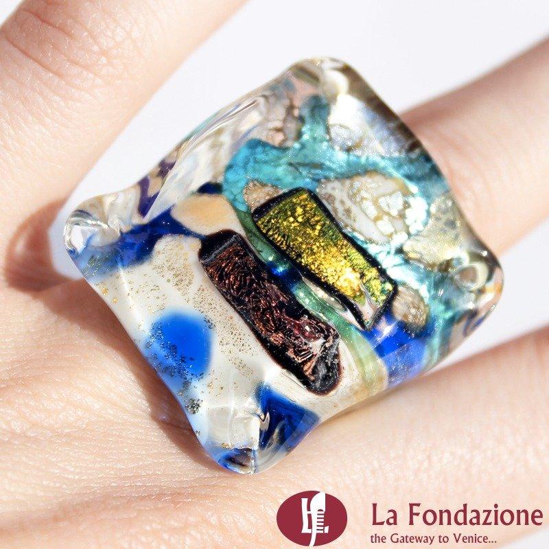 Anello a cubo dicroico in vetro di Murano - Turchese