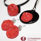 Parure Passion con Rosa Rossa in vetro di Murano