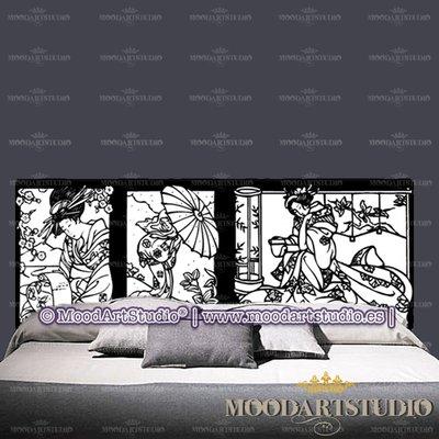 Testiera da letto in stile pop art con donna orientale feng shui
