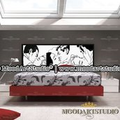 KISS pop art - Testata da letto dipinta a mano