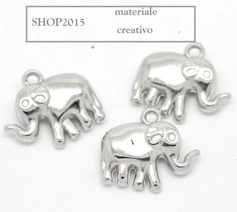 Charm ciondolo elefante in CCB Argento scuro 2,4x2,1 cm