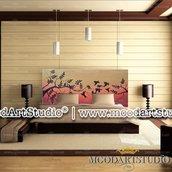 Uccelli e Tramonto - Testata da letto dipinta a mano