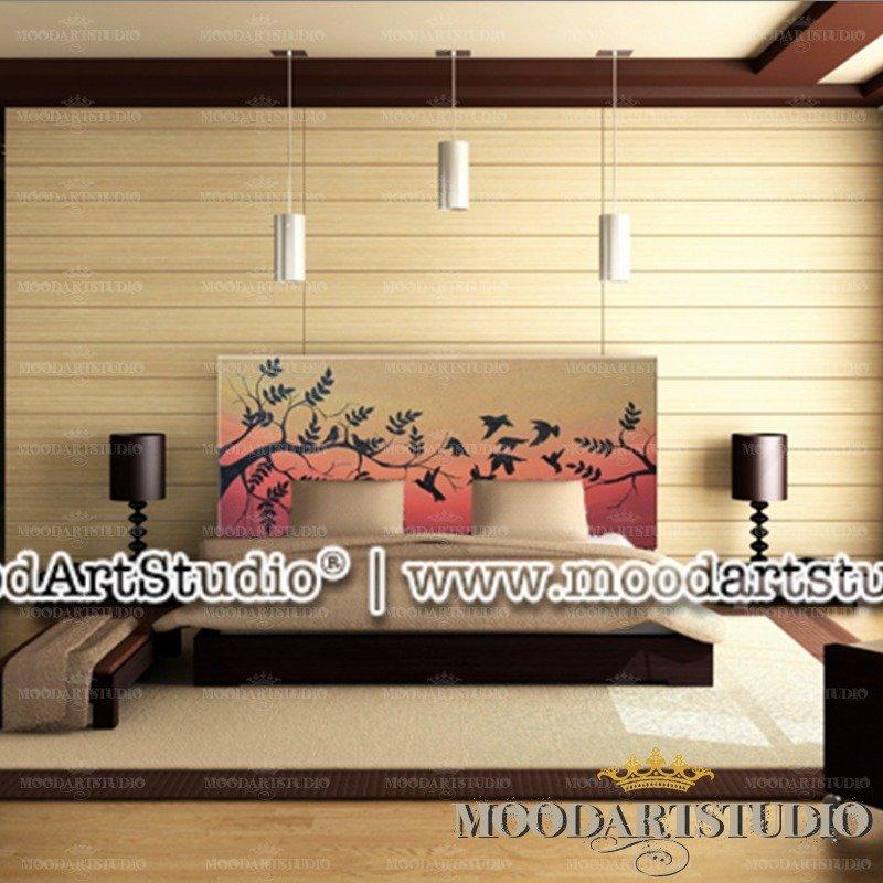 Uccelli e Tramonto - Testata da letto dipinta a mano - Per la casa ...
