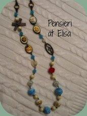 Collana lunga con perle Alice nel paese delle meraviglie e Bianconiglio handmade in fimo