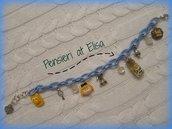 Bracciale cotone ciondoli Alice nel paese delle meraviglie handmade in fimo