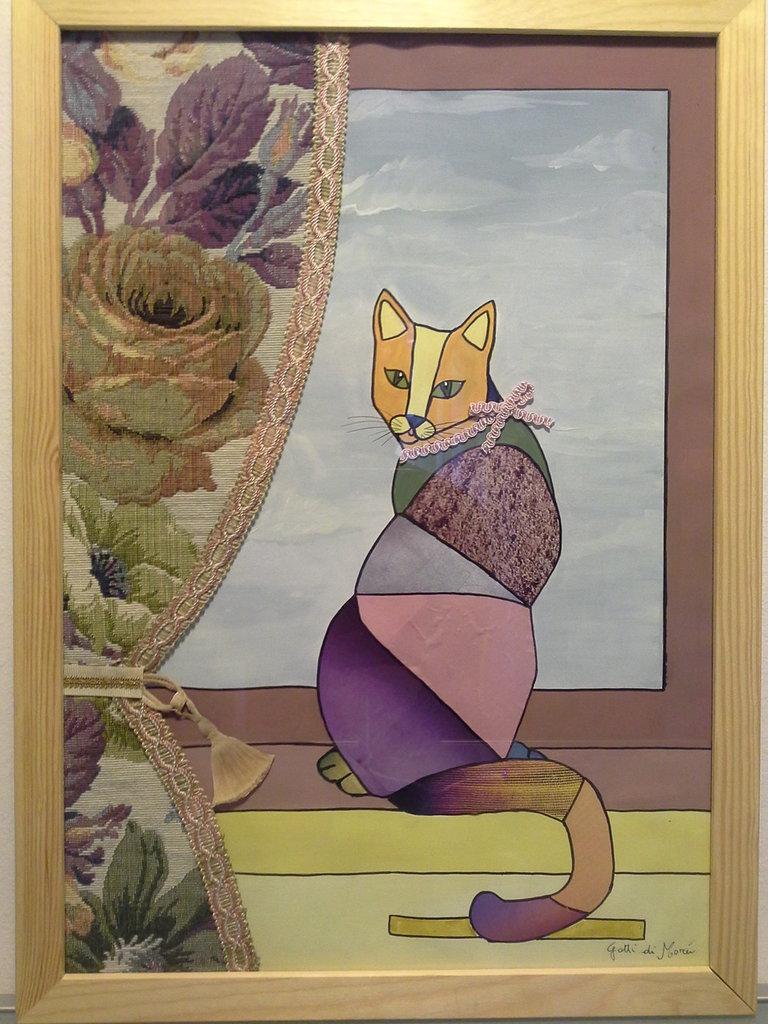 Quadro con gatto dalla finestra