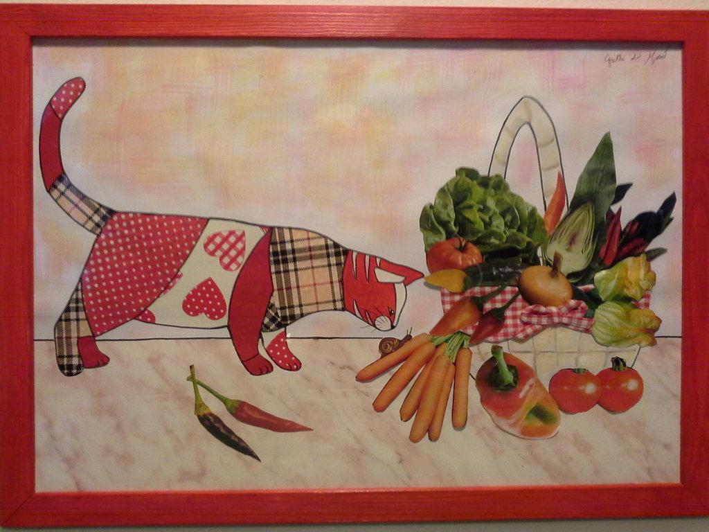 Quadro con gatto e cesto di verdura