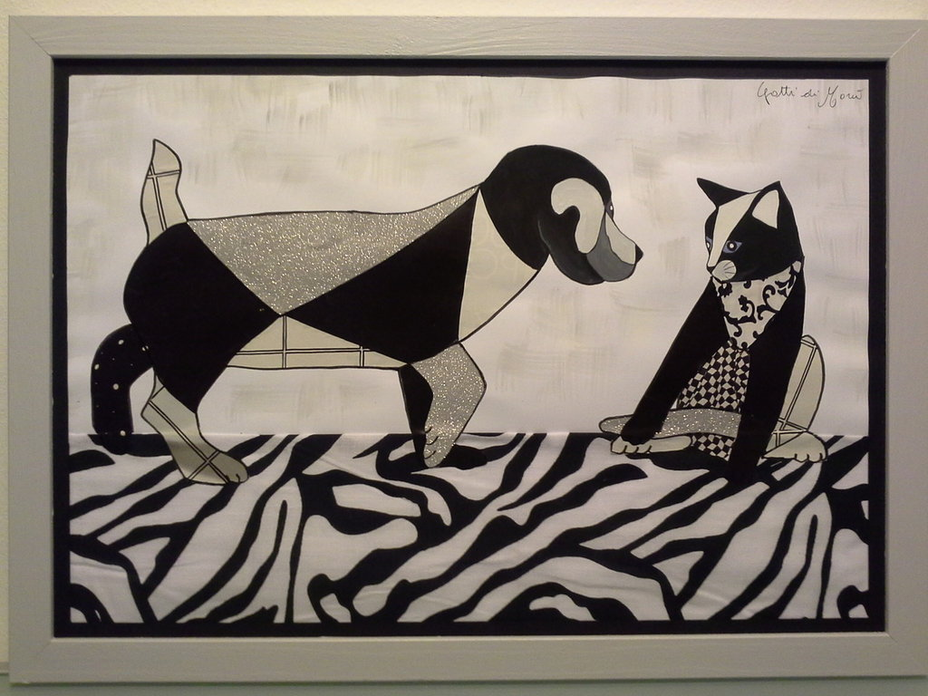 Quadro con cuccioli di cane e gatto