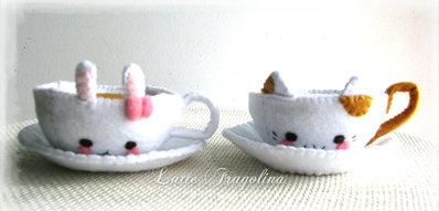 Set di tazzina morbido stile animale con i piattini - tazzina da tè,choccolato, giocattolo in feltro