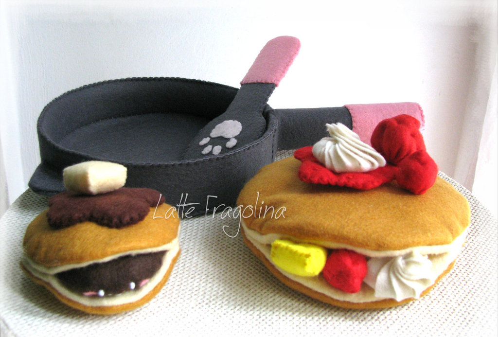 Set di Pancake - Padella, Spatola, guarnizioni, feltro giocattolo cibo