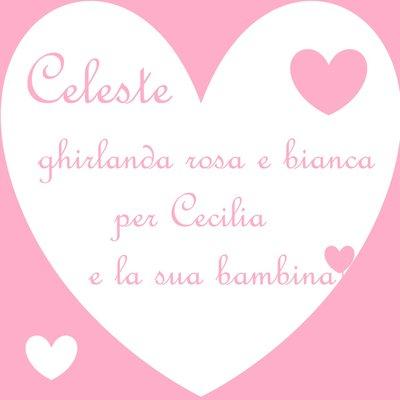Celeste: ghirlanda di lettere di stoffa imbottite rosa e bianche per Cecilia e la sua bambina!