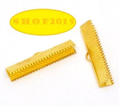 5 pz Capocorda  dentati terminale fermanastro  tono dorato  30×7.5mm