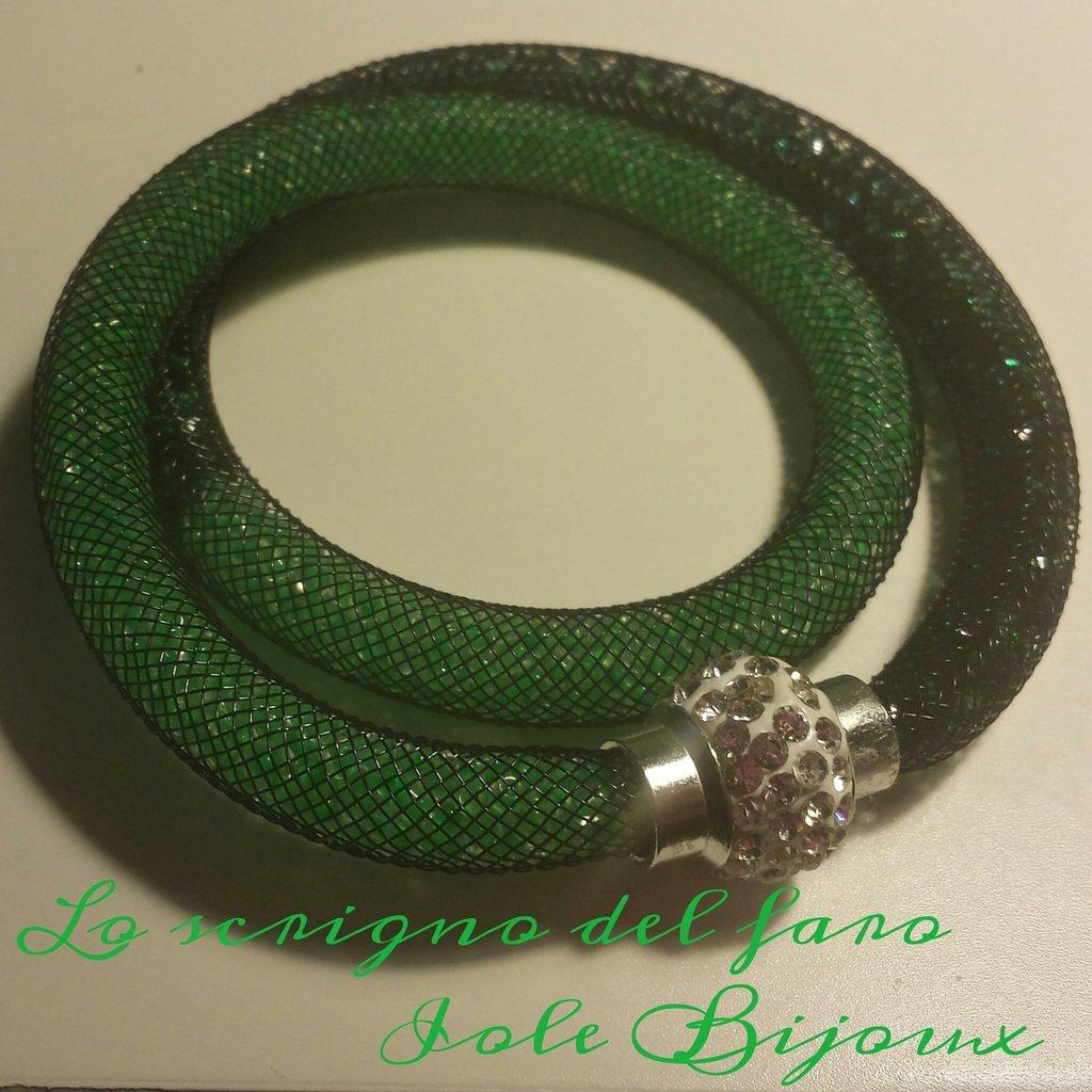 Bracciale stile Stardust doppio giro bicolor verde chiaro / verde scuro