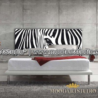 Testata da letto dipinta a mano Zebra