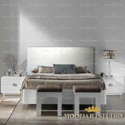 White Modern Art - Testata da letto dipinta a mano