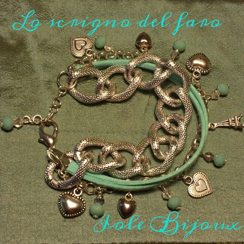 Bracciale fatto a mano con catena color argento e cordino verde Tiffany