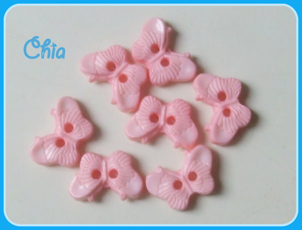 set 10 bottoncini farfalla rosa