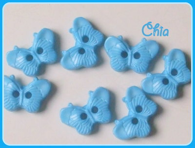 OFFERTA set 15 bottoncini farfalla azzurra