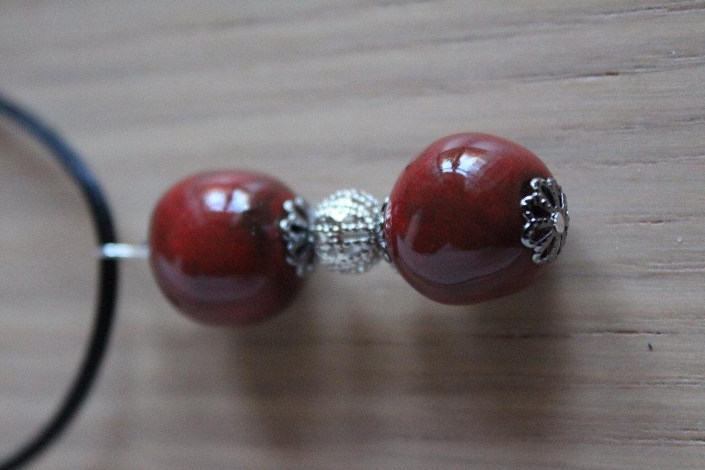 ciondolo 2 perle ceramica raku rossa