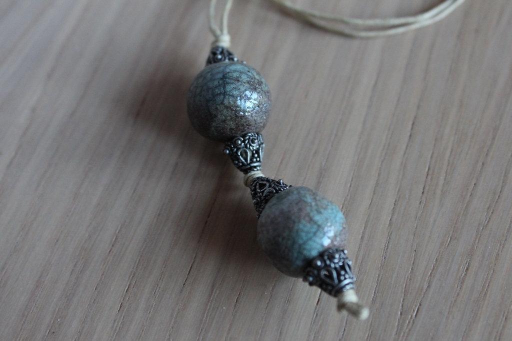 ciondolo 2 perle in ceramica raku turchese