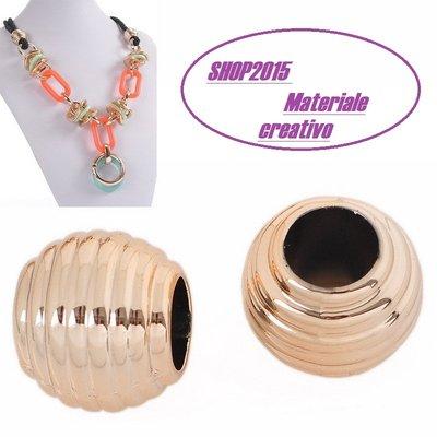 Perla in plastica  Foro Largo  19mmx17mm foro 10 mm  rosa dorato