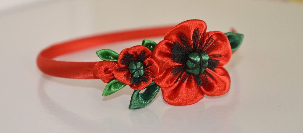 """Cerchietto  con fiori kanzashi fatti a mano """"Papaveri"""""""