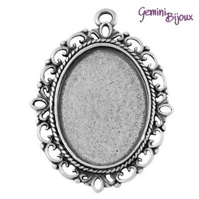 Base pendente per cabochon, antique silver, ovale mm. 39x29 (interno 25x18)