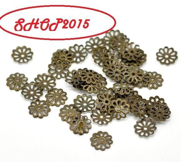 25 Distanziatori,  coppette copriperla a  fiore bronzo 8  mm