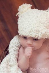 Cappellino neonato / Cappellino orsetto neonato / Berrettino neonato / Cappellino bambino / Schiuma bianca / Abbigliamento Bebé Fatto a mano