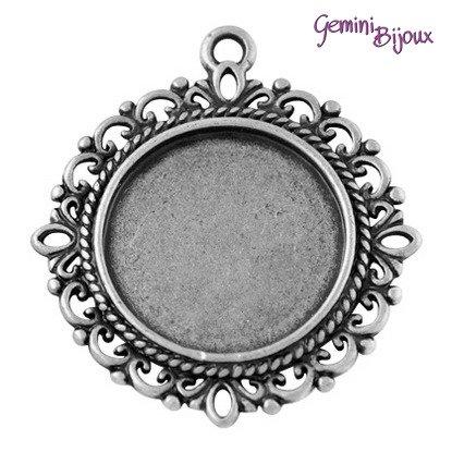 Base pendente per cabochon, antique silver, tondo mm. 35x32 (interno 20 mm.)