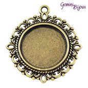 Base pendente per cabochon, antique bronze, tondo mm. 35x32 (interno 20 mm.)