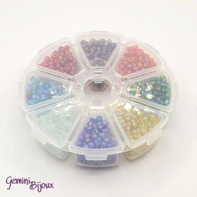 Box Perline tonde in vetro trasparenti mix color 4mm.