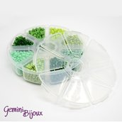 Box Perline tonde in vetro mix verde 4mm.