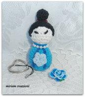 Bambolina Kokeshi azzurra