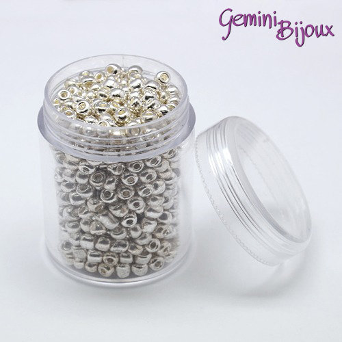 Box perline in vetro electroplate tonde argento 4mm.