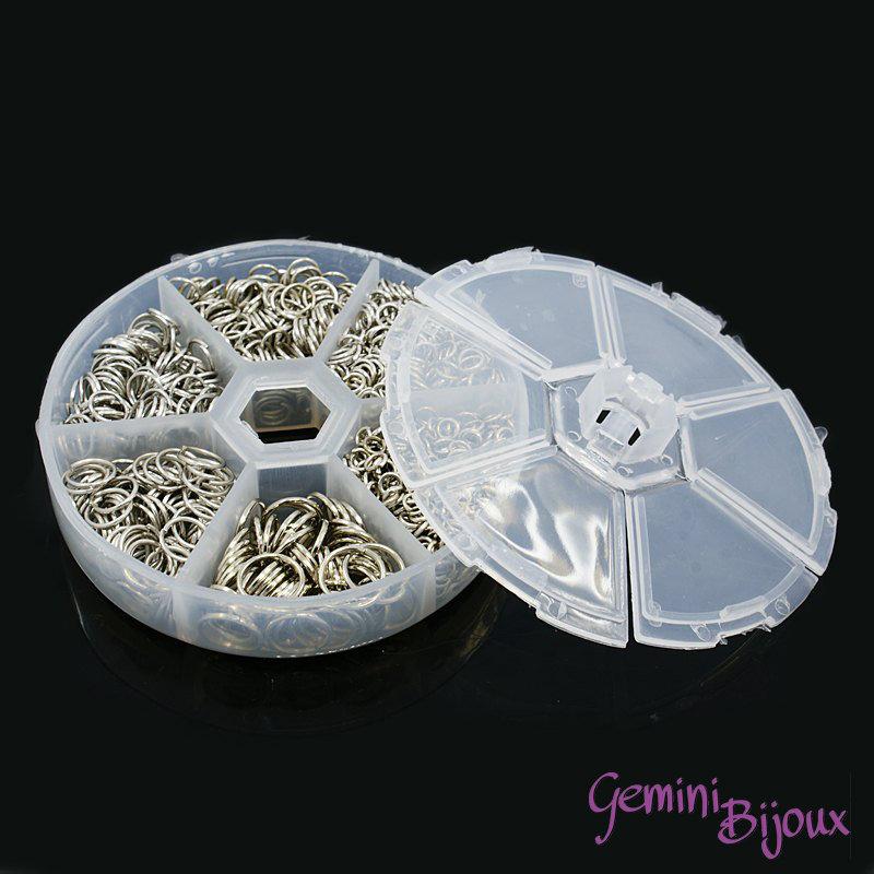 Box anellini in metallo argentati mix di misure