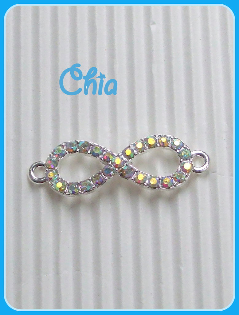 1 connettore link infinito strass multicolor 32x10mm