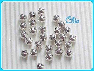 60 perline 4 mm circa color argento